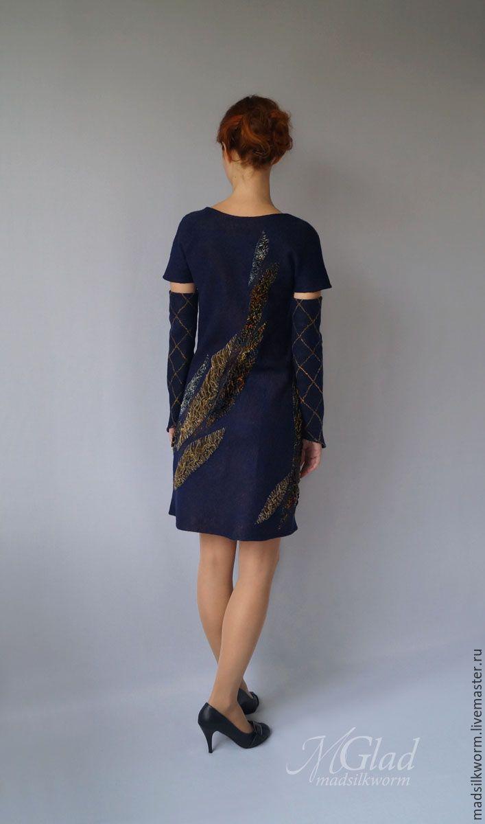 """Купить Платье """"Уютное"""" из коллекции """"Бархатный сезон"""" - нунофелтинг, тёмно-синий, синий, бархат"""