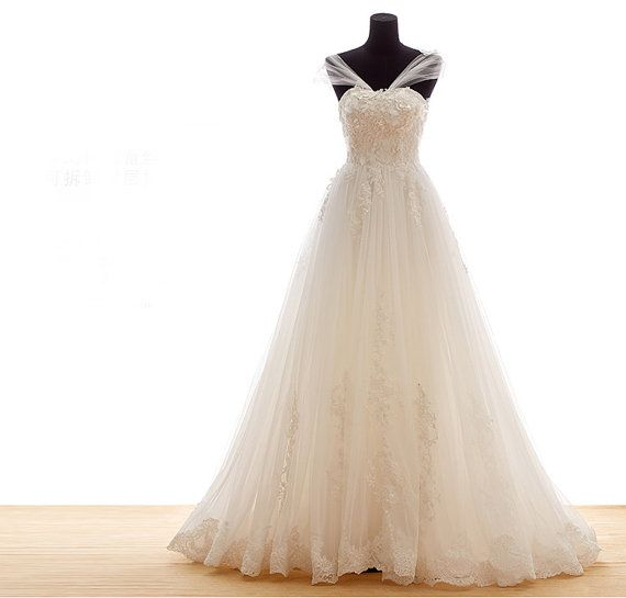 Custom Off Shoulder Elegant Princess Ball Gown with Sheer Back and Cathedral Train - SALE $550.65