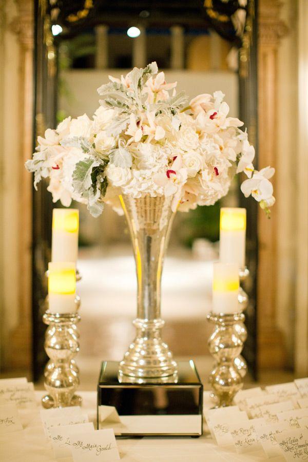 Peach Pink And Cream Arrangement In Silver Trumpet Vase Wedding Blog And Pink