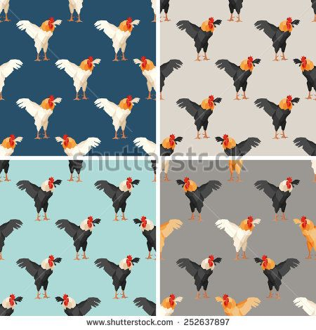 Seamless pattern with rooster. Set #vectorpattern #patterndesign #seamlesspattern #animals #geometric