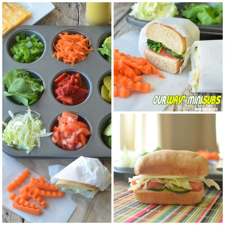 My kids love to pretend they work at Subway!! lol This is how we make our own. I love the muffin pan serving idea!
