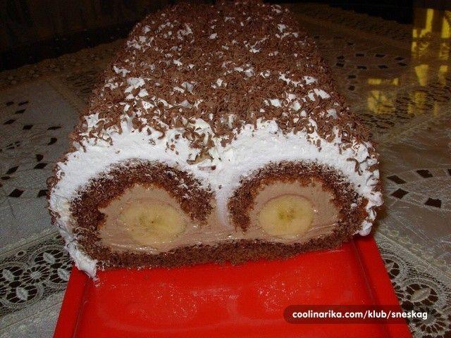 Vynikající dezert bez mouky. Banány, čokoládová nádivka, šlehačka a strouhaná…