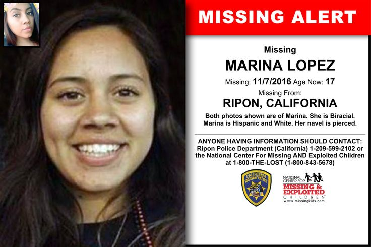 MARINA LOPEZ, Age Now: 17, Missing: 11/07/2016. Missing From RIPON, CA. ANYONE HAVING INFORMATION SHOULD CONTACT: Ripon Police Department (California) 1-209-599-2102.