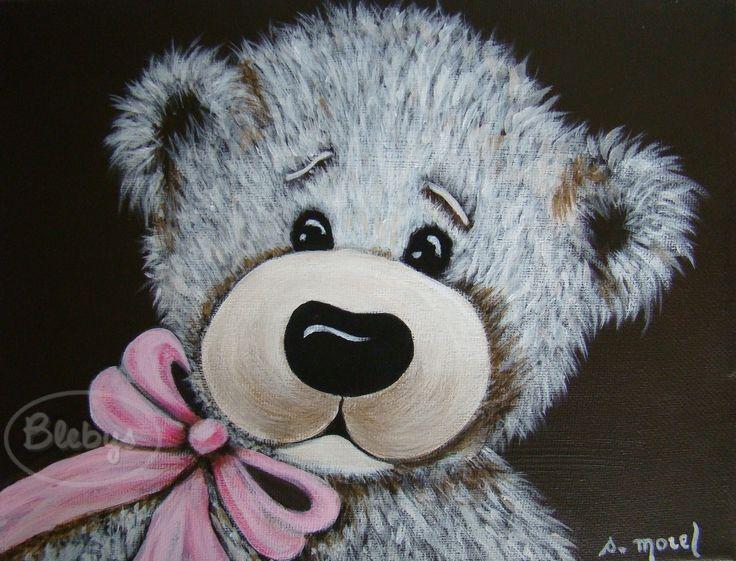 Décoration pour enfant Tableau peinture OURS ruban rose. Acrylique