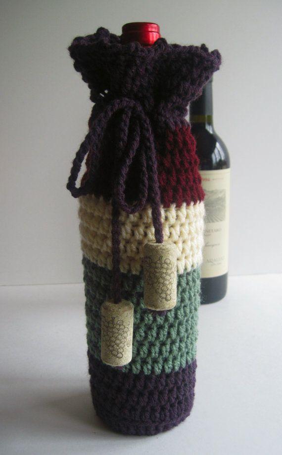 Wine Cozy - Crochet Wine Bottle Covers Sacks Gift Bags - Purple, Cream, Green and Wine with Cork Tassels