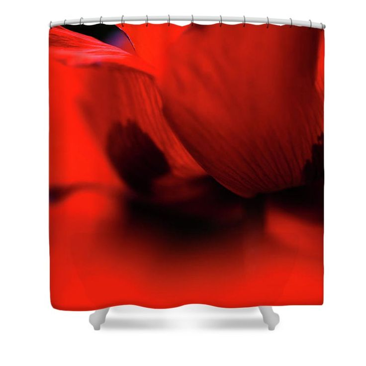 "Flaming Red Poppy Shower Curtain by Jenny Rainbow.  This shower curtain is made from 100% polyester fabric and includes 12 holes at the top of the curtain for simple hanging.  The total dimensions of the shower curtain are 71"" wide x 74"" tall."