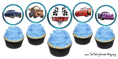 Cars 2 Cupcake Toppers - free printable!  and other cars party ideas