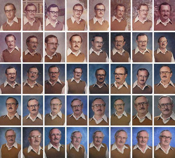 Cet enseignant qui porte la même tenue sur la photo annuelle depuis le début de sa carrière