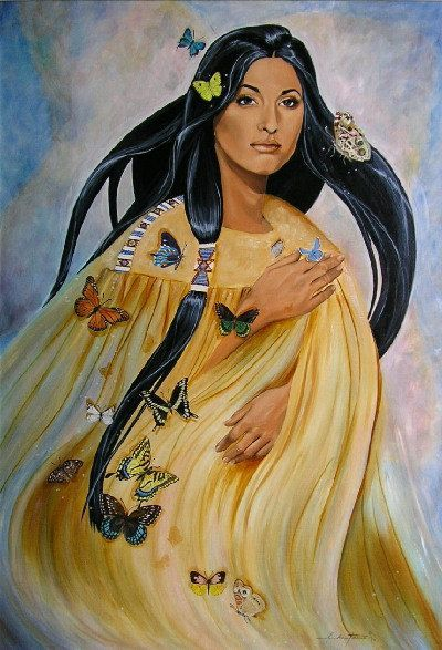 Cherokee Native American Indian maiden w/butterflies