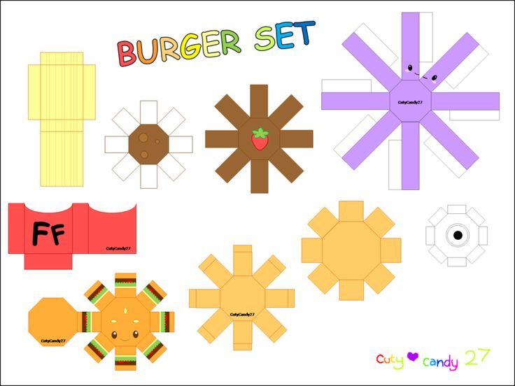 Burger Meal Papercraft by CutyCandy27.deviantart.com on @DeviantArt