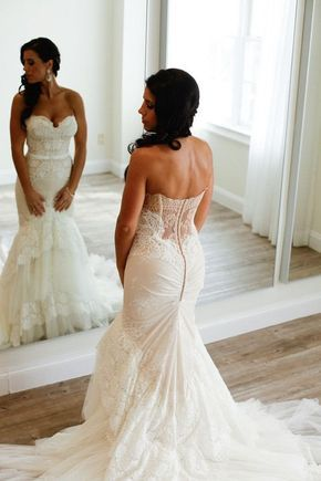 Sweetheart Mermaid Tiered Lace Wedding Dress Ruched with Sweep Train WD035
