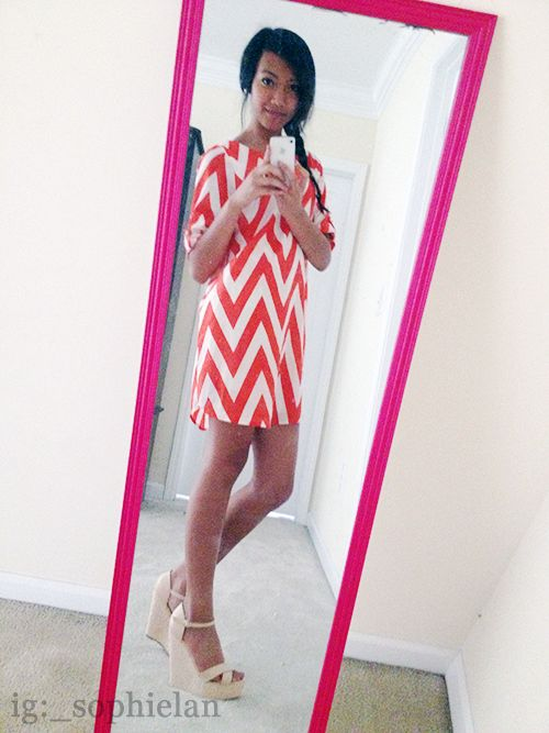 wow first time i uploaded my own picture. fishtail braid, orange chevron shift dress, & lace wedges ♥