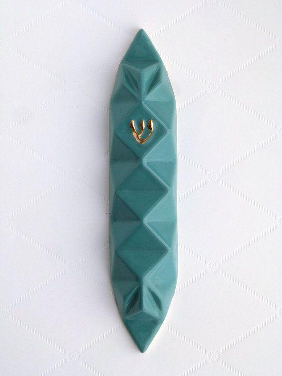 Mezuzah case Modern geometric Judaica - Turquoise ceramic Jewish gift for wedding Gift for new home