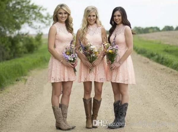 Country Bridesmaid Dresses 2016 Blush Pink Short Lace Bridesmaids Gown Illusion High Neck Beads Sequins Open Back Dress for Weddings