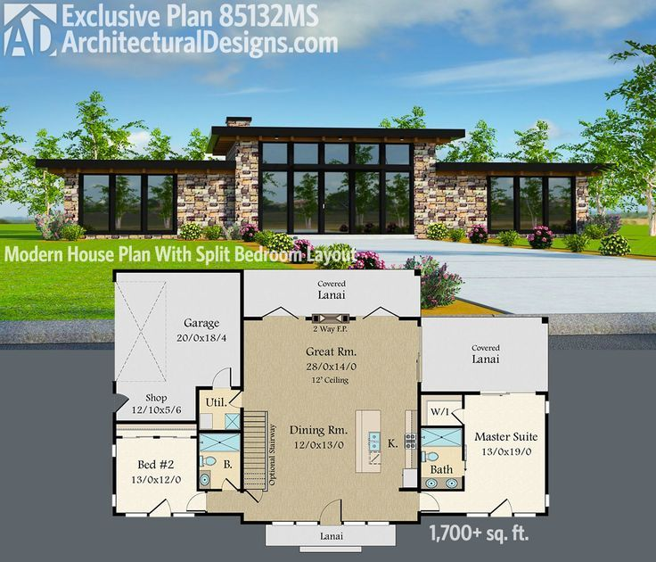 Plan 85132MS: Exclusive Modern House Plan with Split Bedroom Layout
