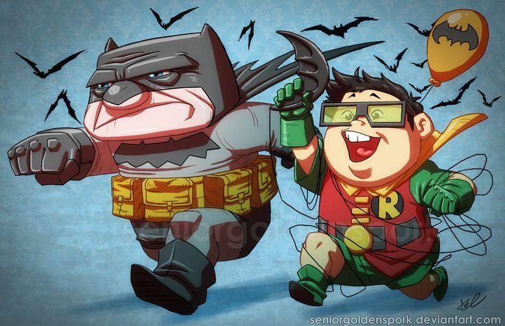 Si querían saber como se verían los personajes de la película UP de Pixar como Batman y Robin, el artista de Deviant seniorgoldenspork, los ha dibujado. Click para ampliar