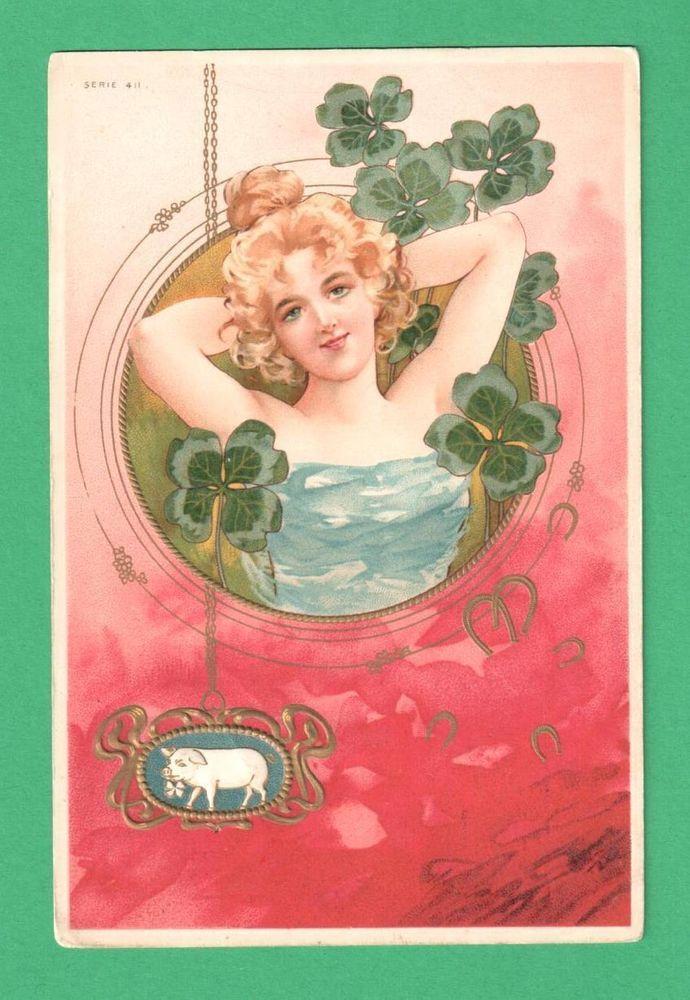 VINTAGE ART NOUVEAU NEW YEAR POSTCARD BEAUTIFUL LADY SHAMROCKS PIG HORSESHOES #NewYear
