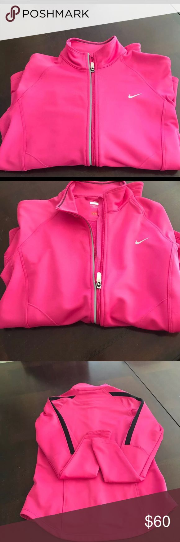 Nike Sport Jacket Pink Jacket Nike Sport Jacket  Women Pink Jacket  Sleeves some black  Size Small (4-6} Nike fit Dry  80% Polyester  10% Spandex  Preowned  Excellent Condition Nike Jackets & Coats Utility Jackets