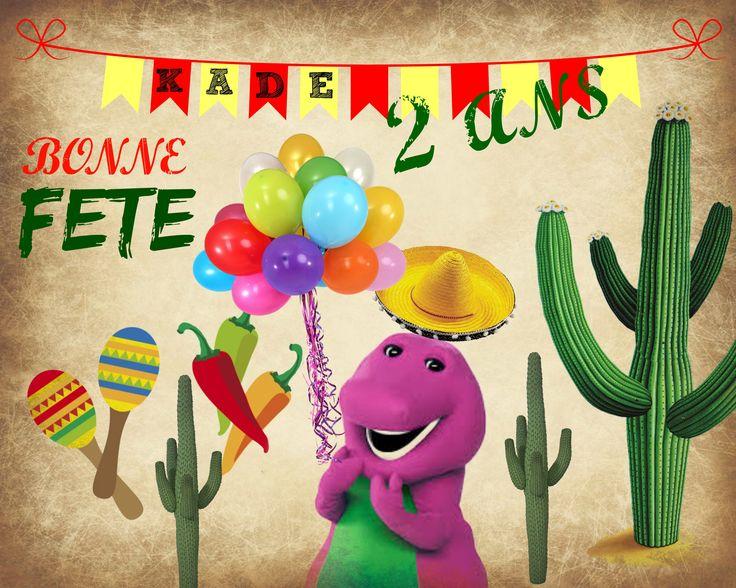 Carte anniversaire 2 ans Barney Mexicain!