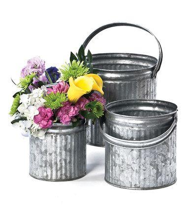 Tin Planter Set #zulily #zulilyfinds