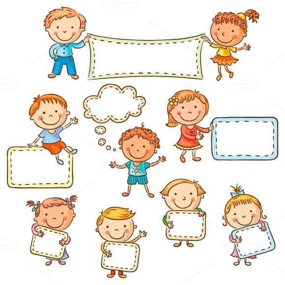 little cartoon kids with blank signs by optimistic kids art on creative market - Cartoon Kids Pics