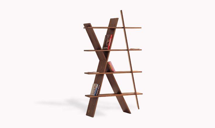 Wewood #XI bookshef in walnut, assembled like a puzzle. #bookshelves #ideas #woodshelf #walnut #wewood