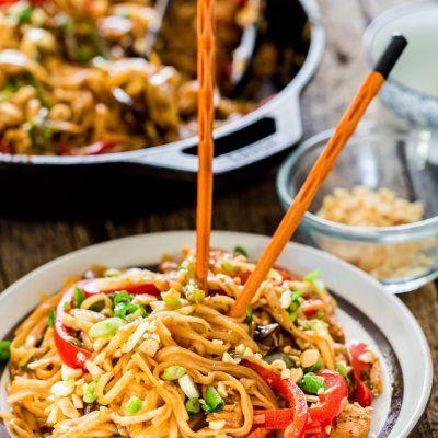 Spicy Thai Chicken and Veggie Noodles