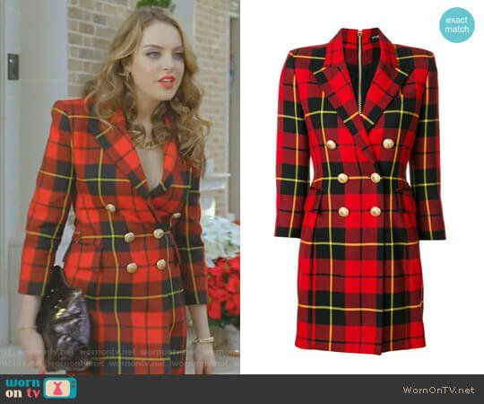 Fallon's red plaid blazer dress on Dynasty. Outfit Details: https://wornontv.net/86781/ #Dynasty