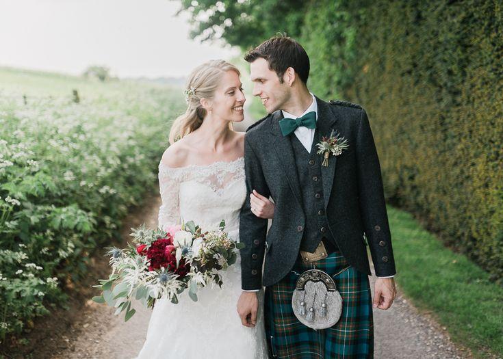 Bride & Groom in Kilt - North Hidden Barn For A Rustic Wedding With Festoon Lights And A Ceilidh With Groom In Kilt And Images From John Barwood Photography