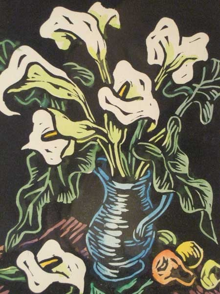 Gregoire Boonzaier (1909 - 2005) Hand Coloured Woodcut Blue Jug with Arum Lilies