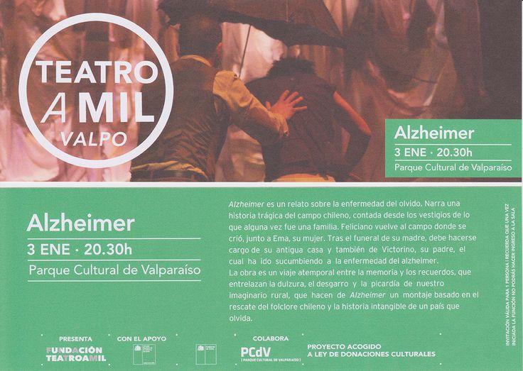 """Fitam presenta """"Alzheimer"""" en el Parque Cultural de Valparaíso"""