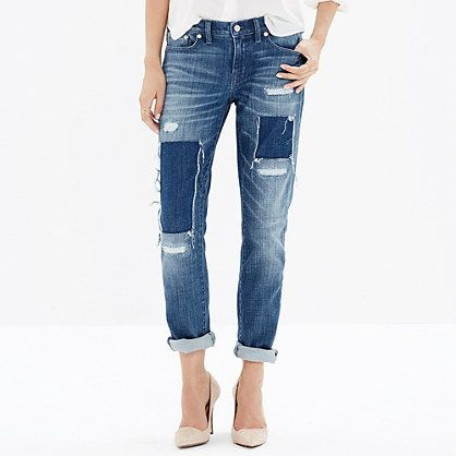 Madewell - The Slim Boyjean: Patched-Up Edition in Springfield Wash
