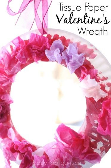 A pretty paper plate Valentine's wreath for toddlers and preschoolers to make. Painting, gluing, crumpling... great fine-motor craft for home or preschool.