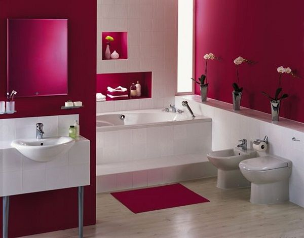 Bathroom With Maroon Concept   Minimalist Home Design