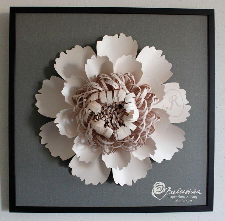 custom+initial+flower+framed+paper+art+piece+one+of+by+balushka,+$395.00