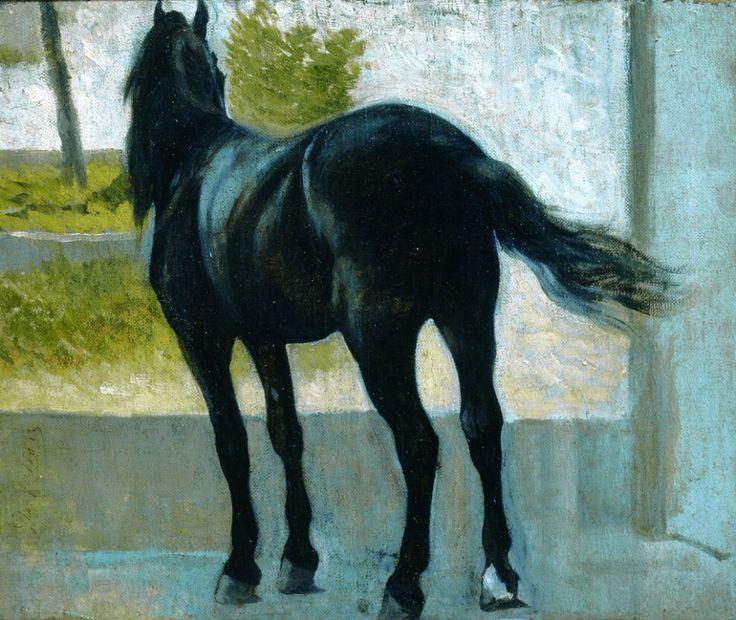 Giovanni Fattori (Livorno 1825 – Firenze 1908) Cavallina nera, olio su tavola