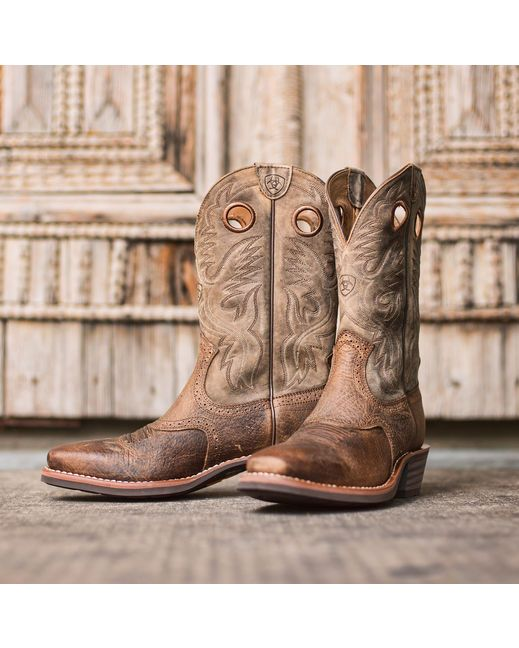 Ariat Men's Heritage Roughstock Square Toe Boot - Earth/Brown Bomber http://www.countryoutfitter.com/products/27916-mens-heritage-roughstock-square-toe-boot-earth-brown-bomber