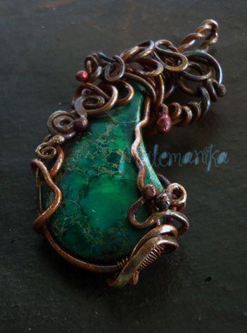 Wire wrapped pendant copper wire, sedimen jasper stone - SOLD