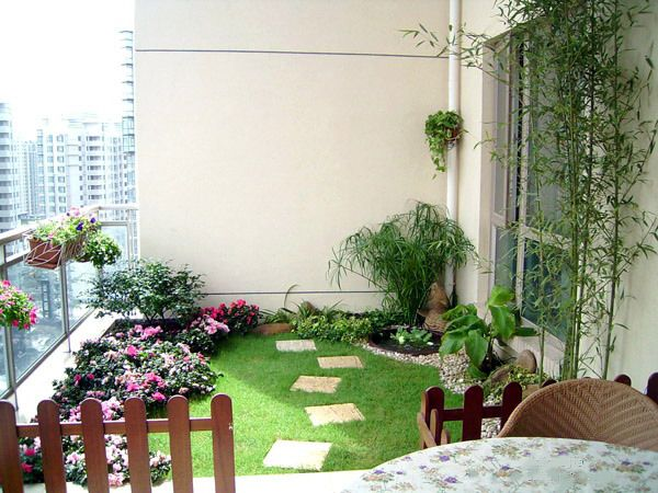 green grass balcony