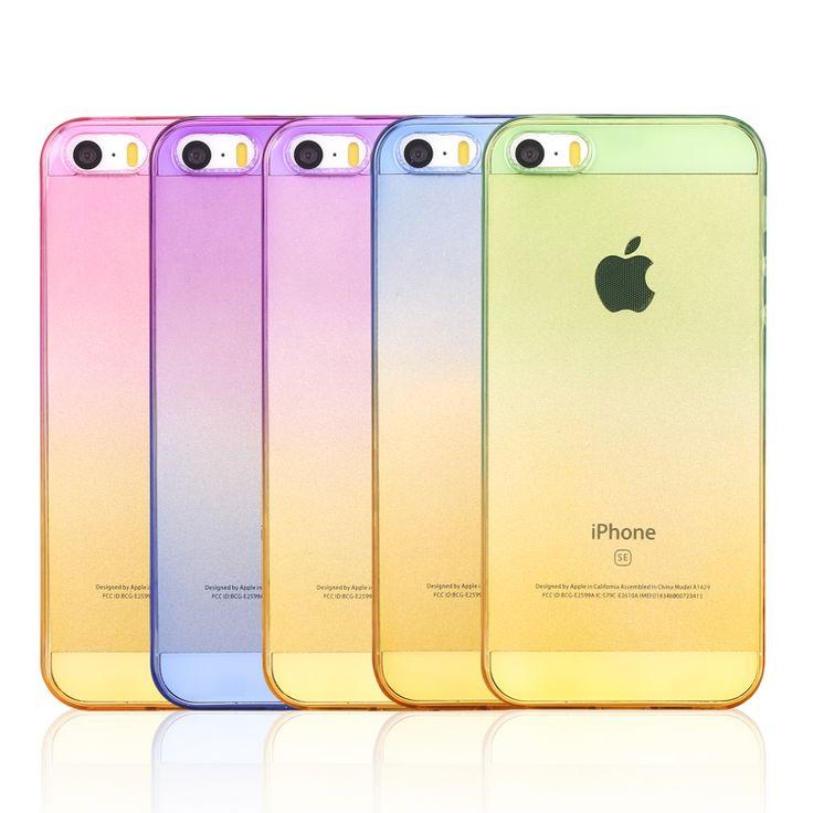 Gradual Change Gradient Color Soft Back Case Rubber Cover For Apple iphone 4 4s 5 5se 5s 6 6s plus 7 7plus For aifon ifon ihone