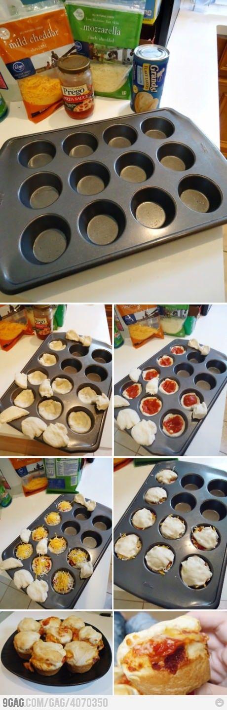 Pizza Cupcakes: Pizza Muffins, Fun Recipes, Savory Recipes, Snacks, Appetizers, Pizza Cupcakes, Cups Cakes, Cupcakes Rosa-Choqu, Pizza Cups