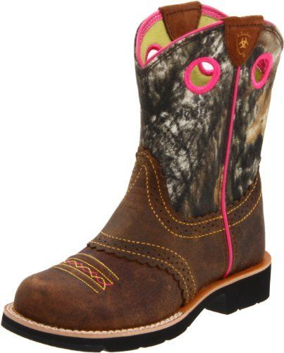 Ariat Fatbaby Cowgirl Western Boot (Toddler/Little Kid/Big Kid),Roughed Brown/Mossy Oak,4.5 M US Big Kid (884849307755) Performance Riding boot Full-grain leather foot with suede shaft Exclusive Ariat Boster Bed for growth Everlon combined with EVA and blown rubber outsole