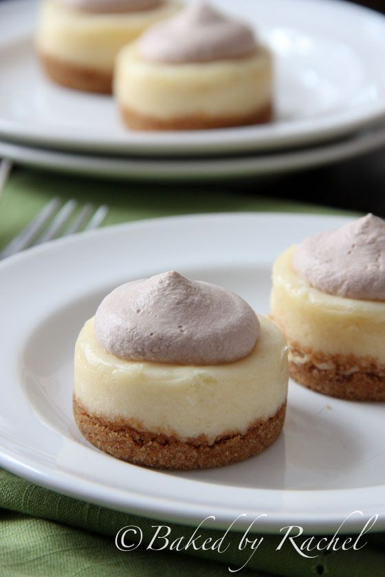 Mini Baileys Cheesecakes with Chocolate Whipped Cream Recipe ~ made these for a dinner party last night & they were a hit! I did use mini pre made crusts and added more irish cream :)