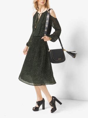 Bare shoulders refresh this midi dress with modern appeal. Designed in delicate tweed-print chiffon with billowy sleeves and a pleated skirt, it's the ideal desk-to-dinner ensemble.