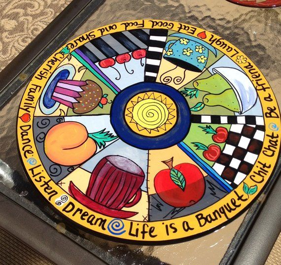 Personalized Turntabl hand painted home decor 6 Section Whimsical Painted Lazy Susan Turntable Custom Painted Lazy Susan Turntable Six