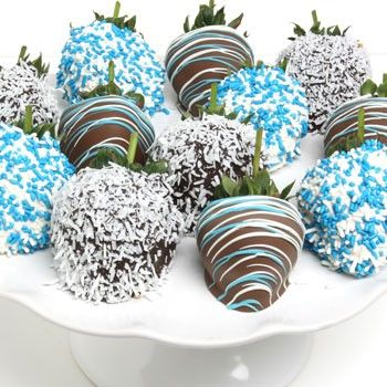 Boy Baby Shower: Chocolate dipped strawberries drizzled with white & blue!  (They also have pink for girls)
