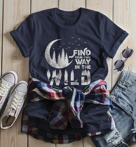 086f6974b0c8 Women s Forest Hipster T-Shirt Moon Shirt Birds Trees Stars Find Your Way  Wild Wanderlust