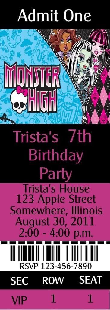Die 25+ Besten Ideen Zu Monster High Einladungen Auf Pinterest,  Einladungskarten