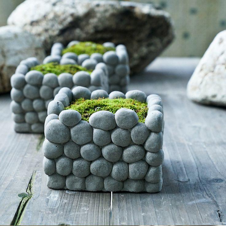 Aibei-creative piedra transpirable maceta Micro paisaje cuadrado rectángulo suculentas hidroponía cemento pequeñas macetas de jardín(China (Mainland))