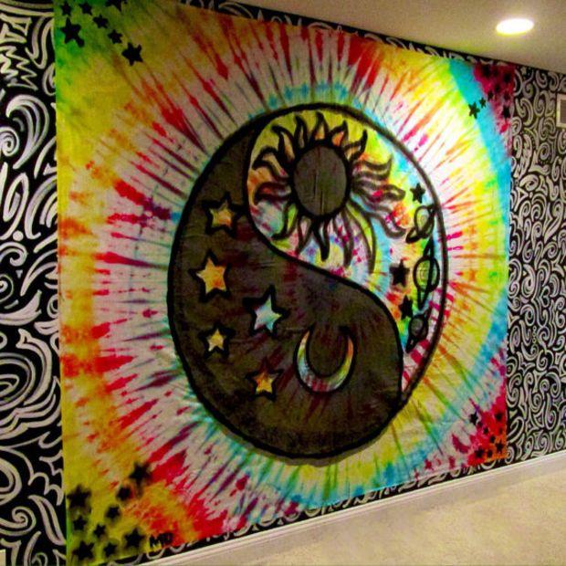 Handmade Large Yin Yang Sun and Moon Tie-Dye Tapestry